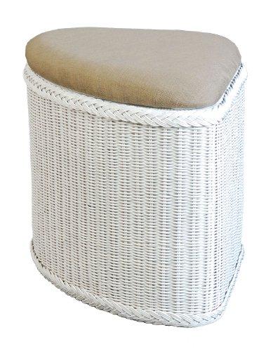 korb.outlet Rattan Wäschekorb/Wäschetruhe mit gepolsterten Sitz Form Eck in der Farbe Weiss/Flur-Bank Aufbewahrungsbox mit Deckel Bad-Hocker Sitzhocker Wäschesammler Sitz-Truhe