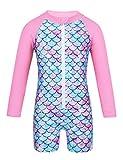 MSemis Baby Mädchen Badebekleidung Langarm Badeanzug Einteiler UV-Schutz Bademode mit Fischschuppen Rash Guard Gr. 68 80 86 92 98 104 Rosa 68-80/6-12 Monate