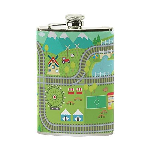 DEYYA Kinder ABC Teppich Edelstahl-Taschen-Hüfte-Flasche Wein-Topf-Whisky-trinkende Geist-Alkohol Einheitsgröße Multi # 004 - Wein Multi-teppiche