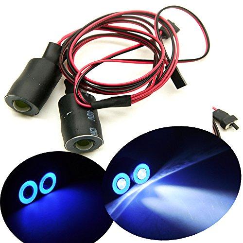 17mm 2 Leds Angel Eyes LED Licht Scheinwerfer / Rücklicht für 1:10 RC Crawler Car (Blau + Weiß) (Halo-lichter Für Autos)