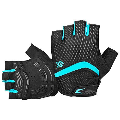 I Kua Fly Guantes de Ciclismo, Guantes MTB con Dedos Medios para Hombre (Azul, XL)