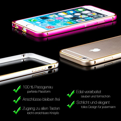 iCues Apple iPhone 4/4S |  Alu Bumper Bicolor Gold | [Display Schutzfolie Inklusive] CNC Aluminium Metall Metallic Rahmen Case Hülle Schutzhülle Alubumper Bicolor Gold / Pink