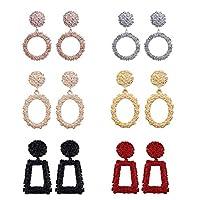 6 Pairs Boho Geometric Dangle Earrings, ANBET Shining Metal Square Earrings Fashion Round Statement Drop Earring Jewelry Accessories for Women Girls