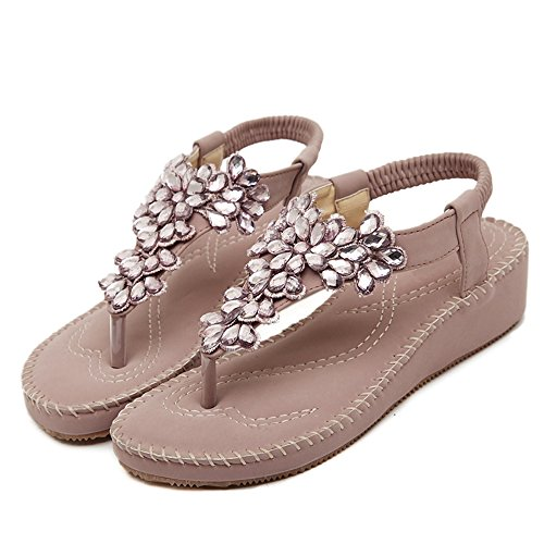 Da donna Scarpe sandalo flip-flop Di Fiori Pietre del Strass Bohemia Rosa