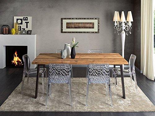 Legno&Design Table rectangulaire séjour Cuisine Bois Massif conifère ciré Jambes Fer