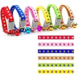 Yunt Colorful 6Pcs/Pack Small Footprint 0.8 cm/0.31in Printing Adjustable Collar With Bells Pet Collars for Dogs & Cats