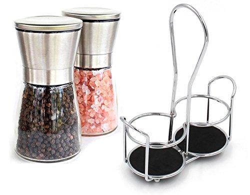 esylife Salz- und Pfeffermühle Set Match einen Ständer Halter, 2Salz Mills Pro Set