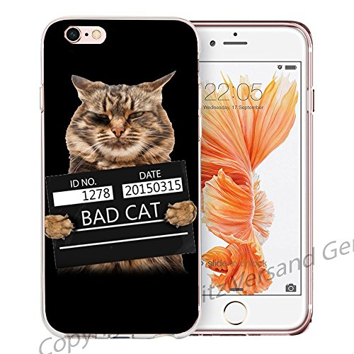 Blitz® LIPS motifs housse de protection transparent TPE caricature bande iPhone Dents Vampire M14 iPhone 8 8s Bad Cat M10