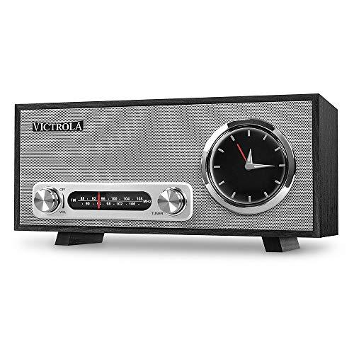 Victrola Broadway Horloge analogique Radio-réveil Bluetooth - Noir