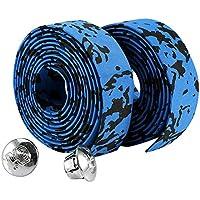 Cinta de Manillar para Bicicleta 2Pcs Cinta Esponja para Bici con 2 Tapones para Puños ( Color : Blue+Black )