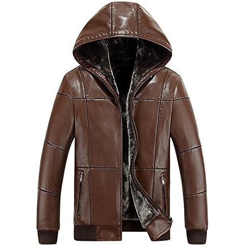 JJZXX Uomo foderato Inverno caldo con cappuccio Faux cappotto Giacca in pelle Cashmere Winter Coat