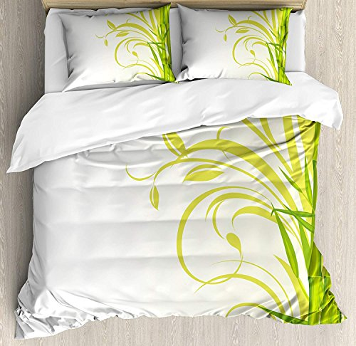 Grüner Bettbezug-Set Queen Size, Bambus mit künstlerischen gelockten Blättern Asiatischer Feng Shui-Zen-Garten, dekoratives 3-teiliges Bettwäscheset mit 2 Kopfkissen, lindgrünes hellgrünes Weiß -