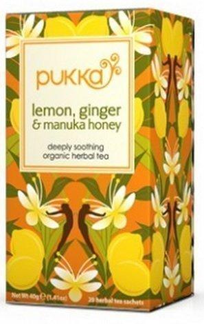 Pukka Herbs citron et gingembre + thé de Manuka de miel 20 sachets (pack de 4)