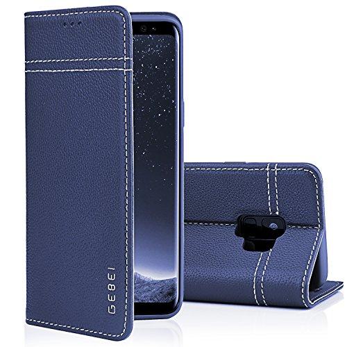 Galaxy S9 Plus Hülle,Gebei Kriegsschiff Serie Echt Ledertasche Klapp-Handy Shell Schutzhülle mit unsichtbare Magnetknopf für Samsung Galaxy S9 Plus (Blau)