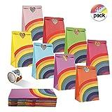 Sacchettini per Feste di Compleanno, 40 Pz Sacchetti Regalo di Carta con Un Rotolo di 100 Adesivi faccine per Bambini Compleanno per Feste