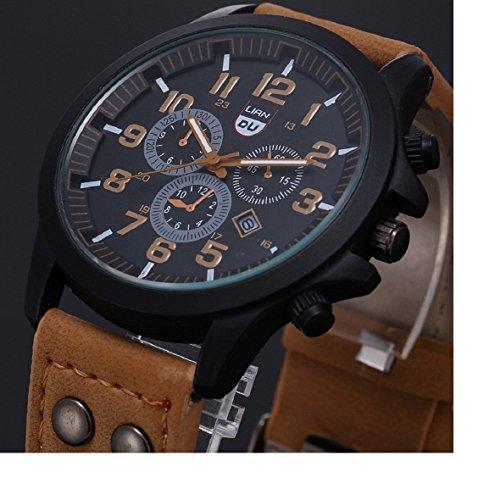 Amcool Herren Uhr Luxus Jahrgang Klassisch Wasserdicht Datum PU Lederband Sport Quarz Armee Uhr