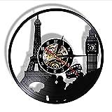 FQCJD Parigi Londra Viaggio a Tema Disco in Vinile Orologio da Parete Torre Big Ben Tower Orologio da Viaggio Unico Punto di Riferimento Orologio da Parete Orologio da Orologio retrò