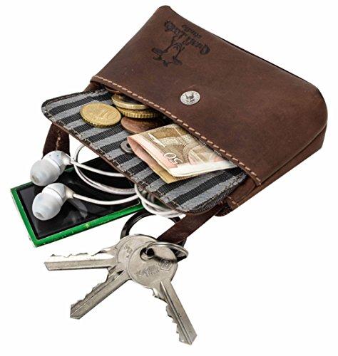 Gusti Leder studio ''Sascha'' portachiavi con funzione portamonete chiavi banconote monete vintage vera pelle festa disco unisex marrone scuro 2A91-22-6