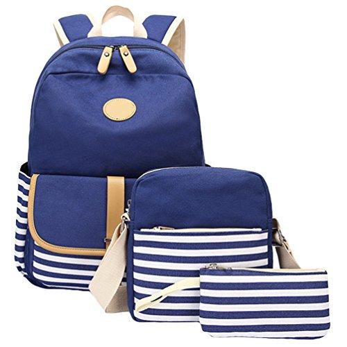 WanYang Damen Herren 3 Sets Canvas Rucksack Beiläufig Daypack / Schultertaschen / Mäppchen für weibliche Teenager Schultaschen 3 Stück Saphir Blau