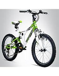 Bergsteiger Montreal 20 Zoll Kinderfahrrad, geeignet für 6, 7, 8, 9 Jahre, Shimano 6 Gang-Schaltung, Mountainbike mit Vollfederung, Jungen-Fahrrad, Mädchen-Fahrrad