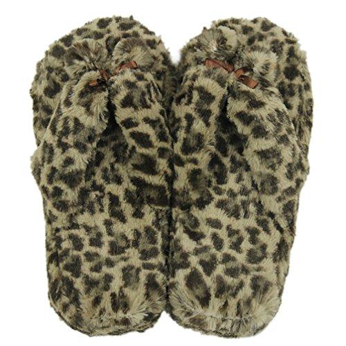 Gohom Pantoffeln Plüsch Hausschuhe Frühling Flip Flops Zehentrenner für Damen Mädchen aus Velvet Fasern Leopard ykwmGNzqwf