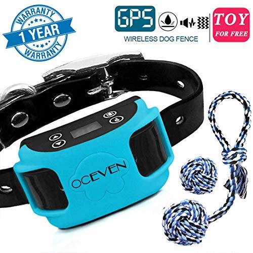 OCEVEN Unsichtbarer Zaun für Hunde, 20-800 Meter im Radius, Vibrationshalsband mit GPS-System, Sichere und Einfache Installation, Free 2 Dog Toys (Blau) (Hunde Zaun, Unsichtbaren Zwei)