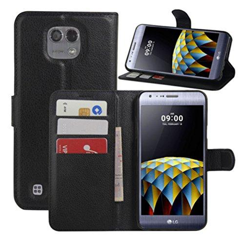 HL Brothers LG X Cam Hülle, HualuBro [All Around Schutz] Premium PU Leder Leather Wallet HandyHülle Tasche Schutzhülle Case Flip Cover mit Karten Slot für LG X Cam Smartphone (Schwarz)