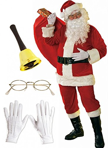 Santa Kostüm Qualitäts - Herren-Kostüm Santa Claus - Super Set - 12-teilig Weihnachtsmann Glocke Brille, Größe:L