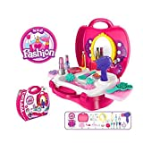 #6: Famous Quality Girls Bring Along Beauty Suitcase Makeup Vanity Toy Set - 21 Pieces(Pink)