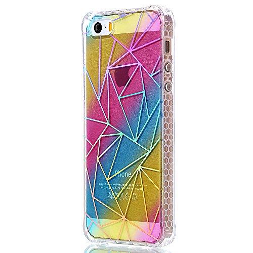 """iPhone 5s Silikonhülle, Mode Elegante CLTPY iPhone SE Slim Fit Schutzfall Funkelnder Glänzend Plating Design Case mit Verstärkte Ecken, Ultra Schlanke Hybrid Schale Fall für 4.0"""" Apple iPhone 5/5s/SE  Geometrische Dreiecke"""
