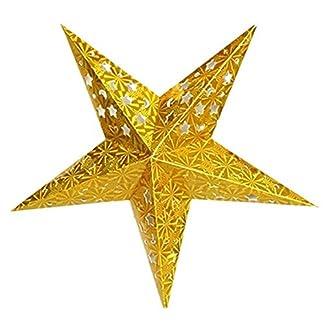 TOOGOO(R) Decoracion de Navidad de moda Linterna de papel estrella Pantalla de lampara de pentagrama Accesorios para bodas colgantes Oro