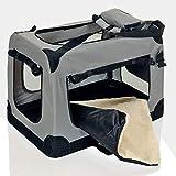 faltbare Hundebox Haustier Transportbox klappbare Autobox 60x42x44 cm gepolstert Katzen Henkel Tragetasche Grau - 5