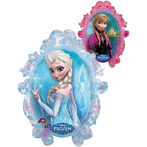 Preisvergleich Produktbild Eiskönigin Frozen Elsa & Anna Folienballon Figur 95 x 82 cm groß Disney Dekoration Kindergeburtstag für Helium ungefüllt