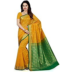 Ishin Women's Cotton Saree With Blouse Piece (Sngm-16615_Yellow & Green)