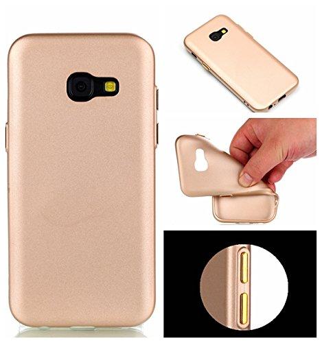 YHUISEN Galaxy A3 2017 Case, Solid Color Matte Slim Fit Soft TPU Gel Langlebig Schock Absorbing Schutzhülle für Samsung Galaxy A3 2017 A320 ( Color : Black ) Gold