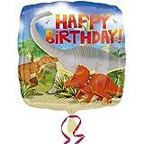 Amscan - Globo de cumpleaños con diseño de Dinosaurio y Happy Birthday (Talla Única/Multicolor)