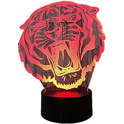Lámpara De Ilusión Visual 3D Lámpara De Noche De Acrílico Transparente Led Cambio De Color Touch Table Lámpara Bulbing Proyector Deco Tiger
