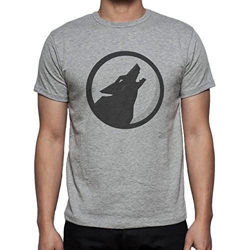 Wolf Howl Black Round Scary Herren T-Shirt Grau