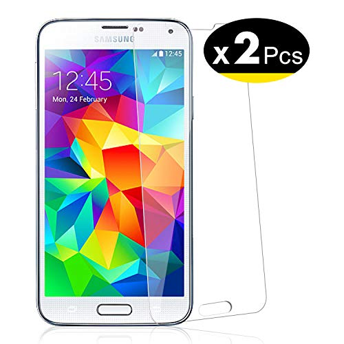 NEW'C Lot de 2, Verre Trempé pour Samsung Galaxy S5 Film Protection écran - Anti Rayures - sans Bulles d'air -Ultra Résistant (0,33mm HD Ultra Transparent) Dureté 9H Glass