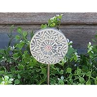 Keramik Gartenstecker Beetstecker Garten Dekoration Handgemacht Rosa Blau als Geschenk oder zur Deko im Garten auf einem Metall Stab