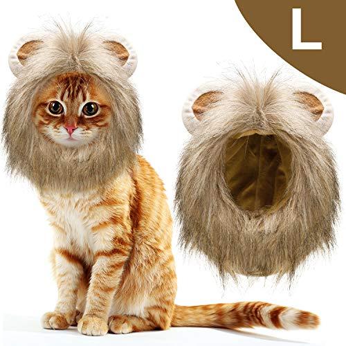 WILLBOND 1 Stück Katze Löwe Mähne Kostüm Haustier Kostüm Löwe Mähne Perücke Haustiere Hut Halloween Kleid Party Kostüm Zubehör mit Ohren für Kleine Mittlere Große Katzen (L) (Löwe Kostüm Ohren)