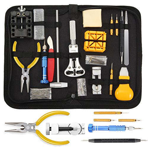 【Upgrade-Version 】 Sopoby Uhrenwerkzeug Set 146tlg Uhrmacherwerkzeug Uhr Werkzeug Tasche Reparatur Watch Tools in schwarze Nylontasche