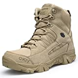 FKMI Mens Hiking Boots Military Tactical Combat Boots Womens Trekking Shoes with Side