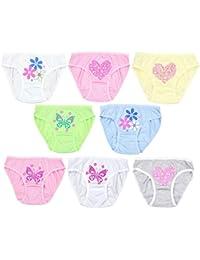 Mädchen Slips mit Aufdruck Unterhosen Set Kinder-Unterwäsche Reine Baumwolle im 8er PACK
