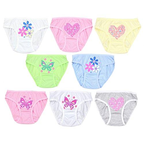 TupTam Mädchen Slips mit Aufdruck Baumwolle 8er Pack, Farbe: Farbenmix 3, Größe: 104-110 Kinder Mädchen Höschen