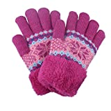 Kinder Strick Fleece Handschuhe Pink Rosa 6-10 Jahre