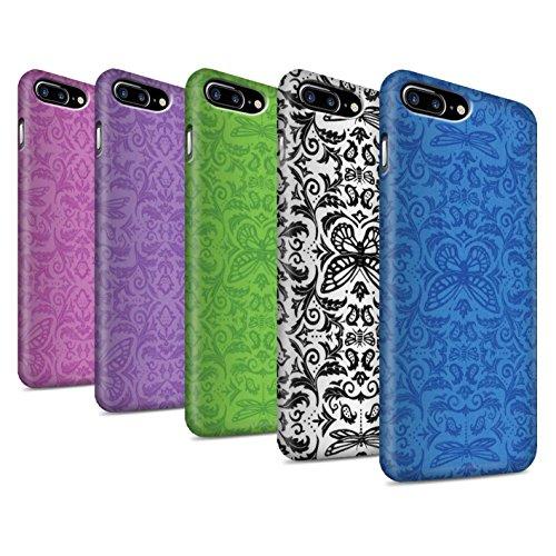 STUFF4 Matte Snap-On Hülle / Case für Apple iPhone 8 Plus / Lila Muster / Insekten Muster Kollektion Pack (7 pcs)