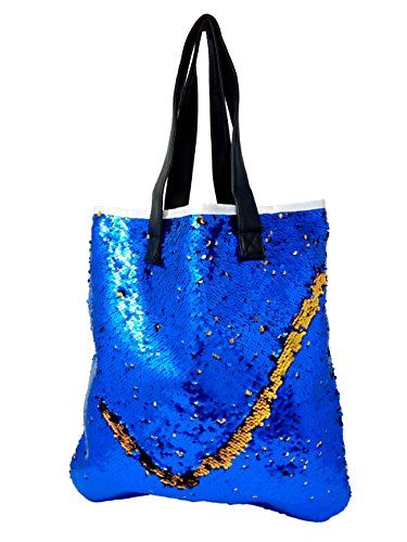 Tote bag, Fashionable mermaid reversible Sequin package Women Girls Casual Tote Beach Bag Portable Shopping Bag (Tote Reversible Canvas)