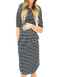 K-youth Vestido para Mujeres Embarazadas Casual Vestidos de Maternidad Vestido Premama Manga Corta Rayas