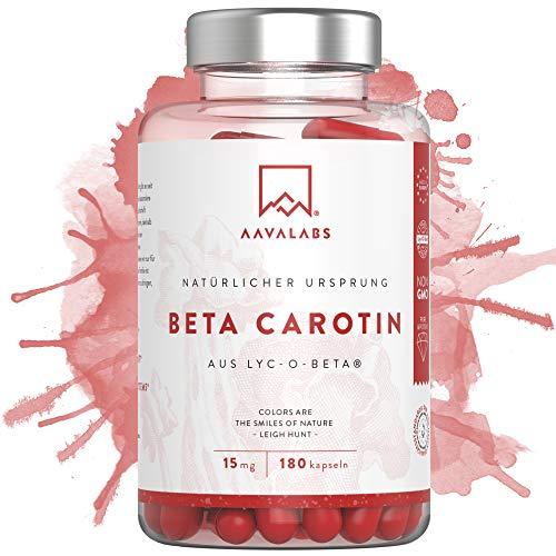 Beta Carotin Kapseln [ 25 000 IE ] - mit patentiertem Lyc-O-Beta und Extra Virgin Olivenöl für einen strahlenden Teint - Natürliche Unterstützung von Eisenstoffwechsel und Haut - 180 Softgel-Kapseln